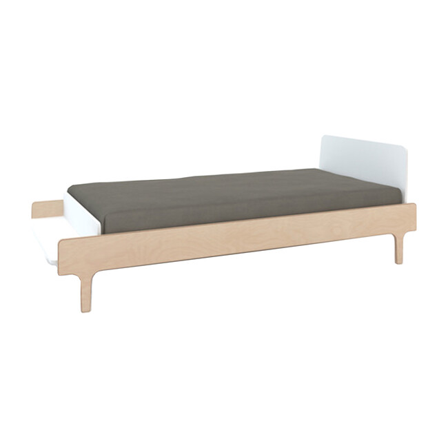 River Twin Bed, White/Birch