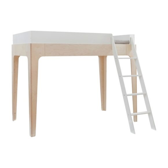 Perch Full Size Loft Bed, White/ Birch