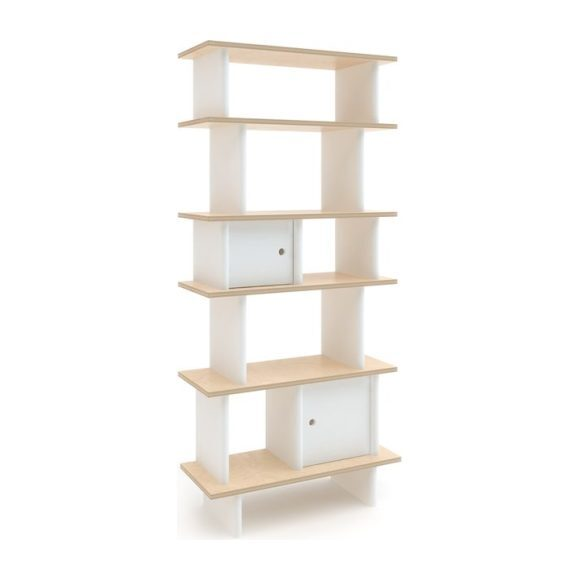 Vertical Mini Library, White/Birch