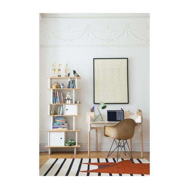 Vertical Mini Library, White/Birch