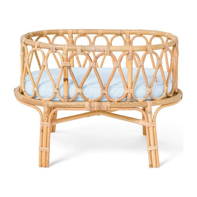 Rattan Doll Crib, Natural/Blue