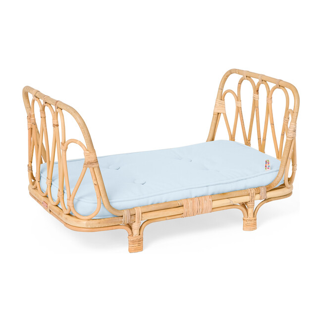 Rattan Doll Day Bed, Natural/Blue