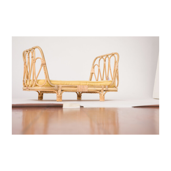 Rattan Doll Day Bed, Natural/Yellow