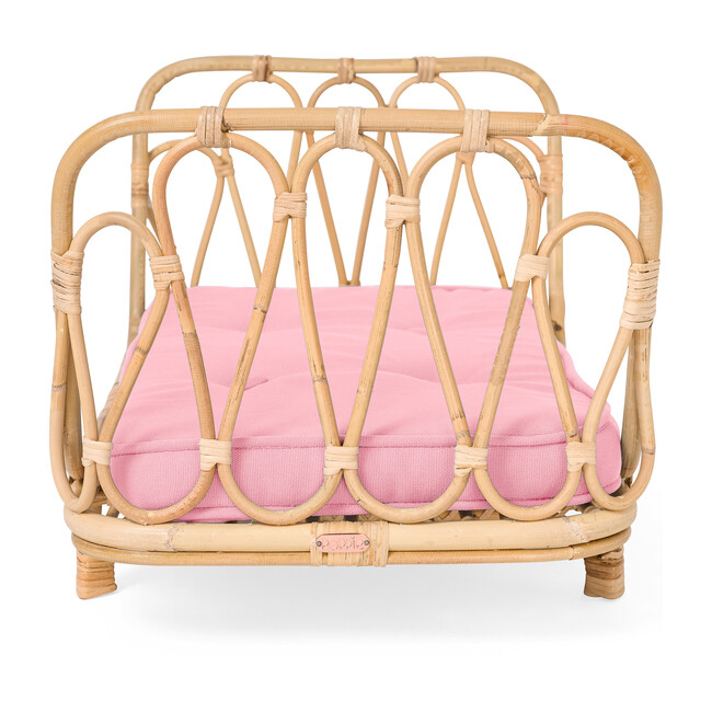 Rattan Doll Day Bed, Natural/Pink