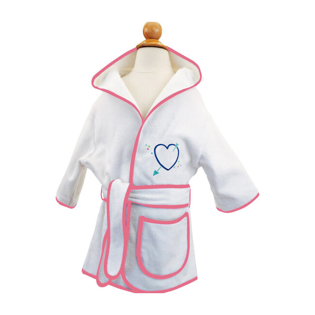Monogramable Hooded Cover-up Robe, Pink with Heart