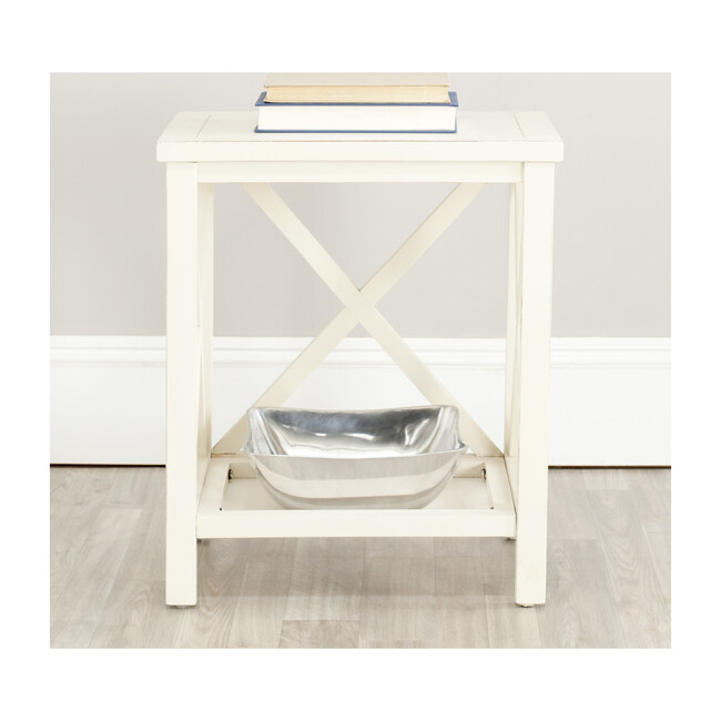 Candence Cross Back End Table, White