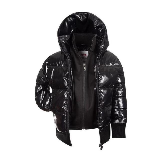 Shiny Flurry Coat, Black