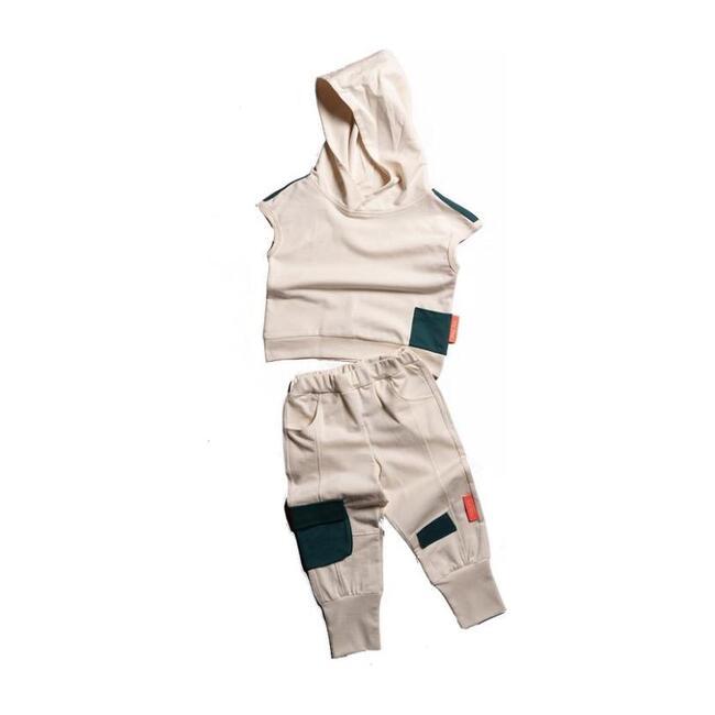 Hooded Tank & Pants Set, Beige
