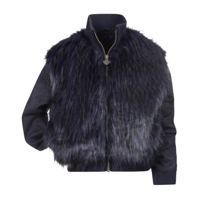 Zoe Faux Fur Jacket, Navy