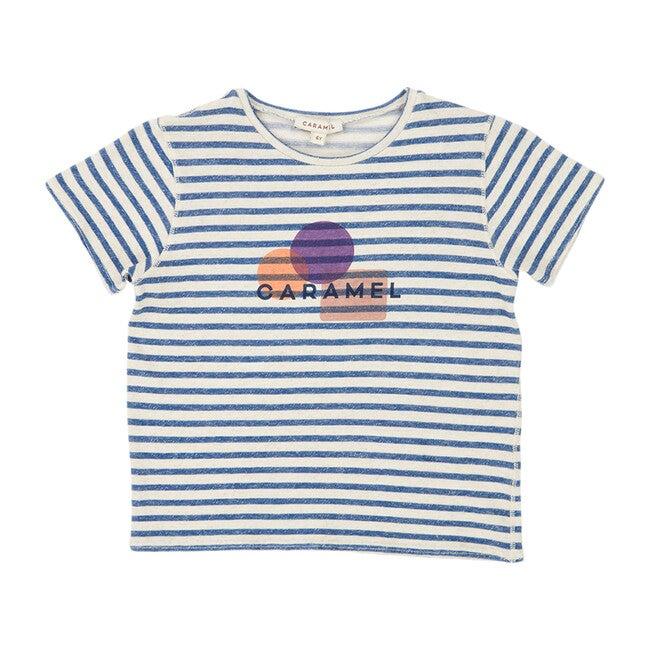 Otter T-Shirt, Blue & Ivory Stripe Print Shapes