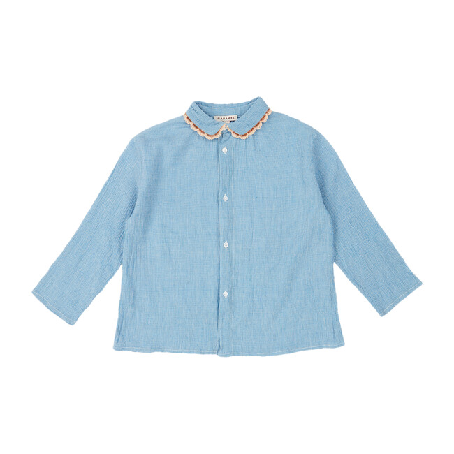 Conch Shirt, Blue Microcheck