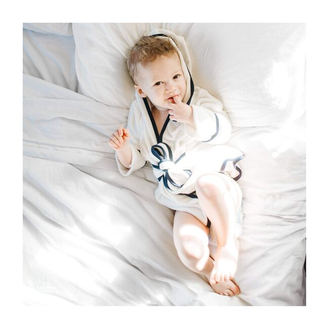 Toddler Bath Robe, Cloud with Midnight Trim