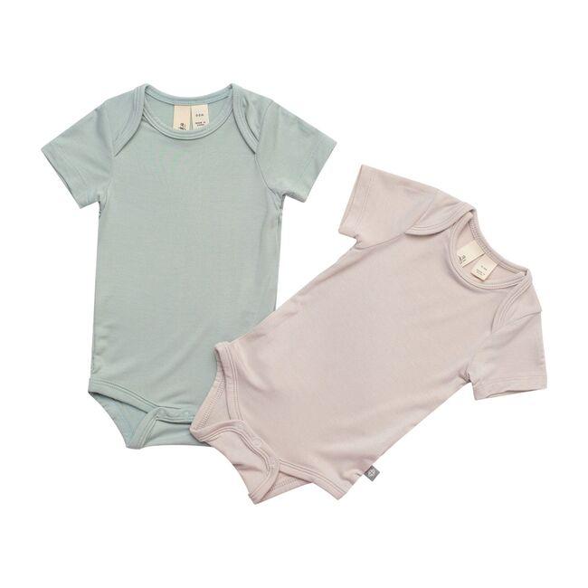 2-Pack Short Sleeve Bodysuit, Sage and Oat