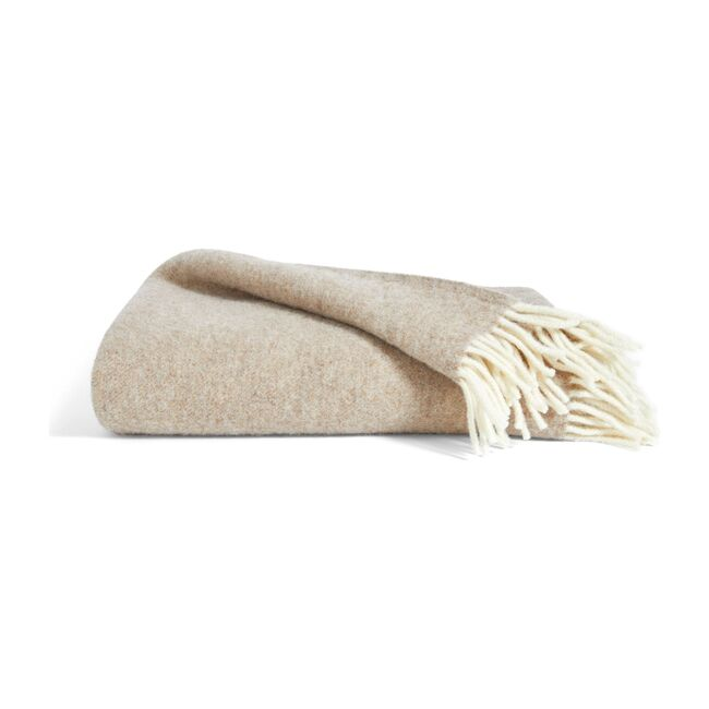 Pure Wool Throw, Latte