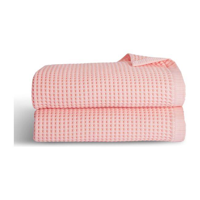 Waffle Bath Towels, Flamingo