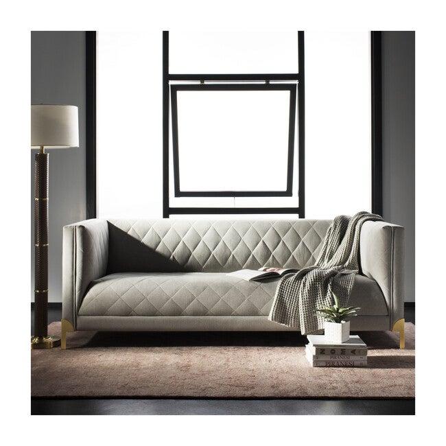Luanna Diamond Trellis Sofa, Grey