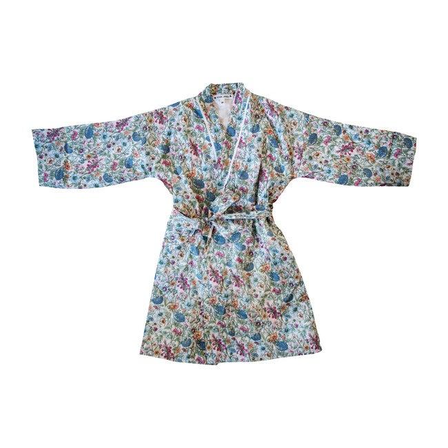 Veetzie Kimono Robe, Green Floral Liberty