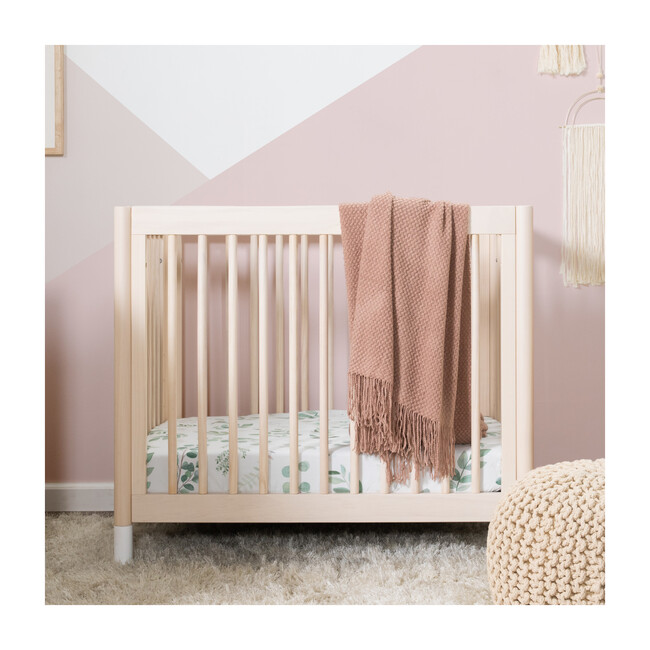 Gelato 4-in-1 Convertible Mini Crib and Twin bed, Washed Natural/White