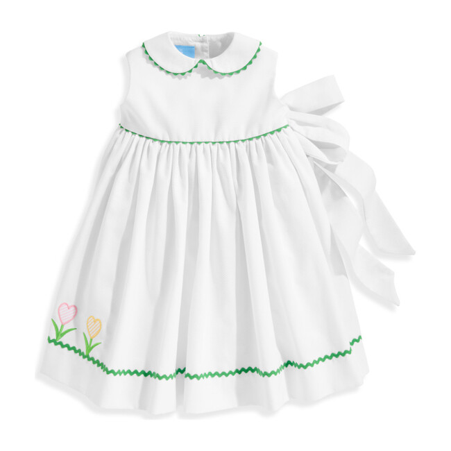 Clarabelle Peter Pan Sundress, White Pique - Dresses - 1 - zoom