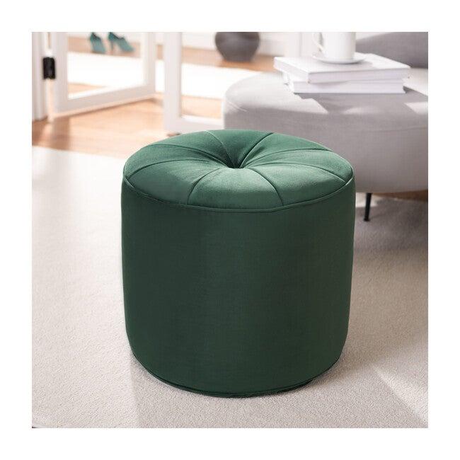 Hawkem Cylinder Ottoman, Dark Emerald