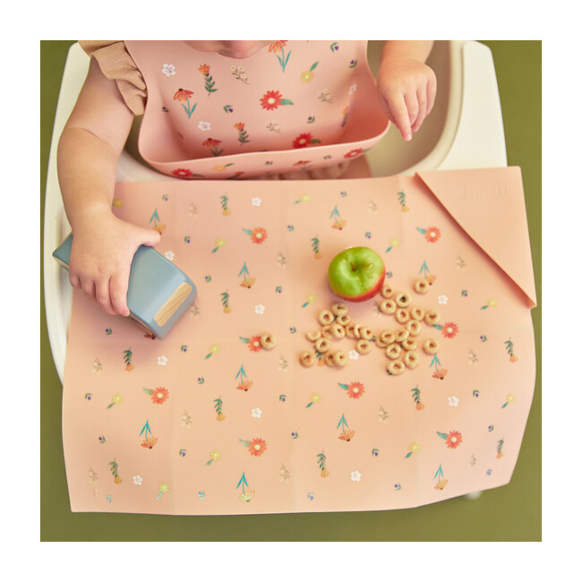 Silicone Bib and Foldable Placemat Set, Wildflower Ripe Peach