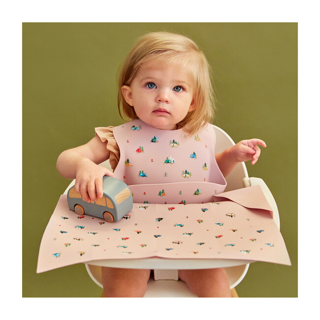 Silicone Bib and Foldable Placemat Set, Camper Violet