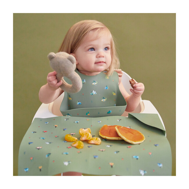 Silicone Bib and Foldable Placemat Set, Camper Sage Green