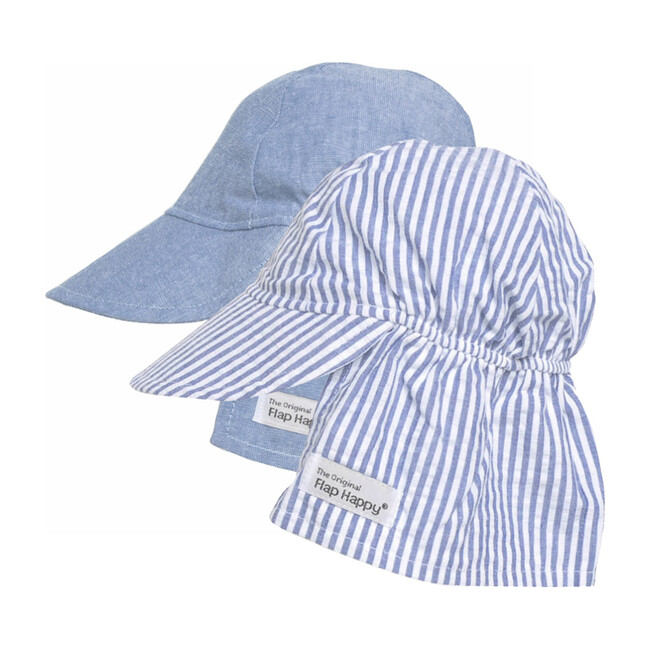 Original Flap Hat 2 Pack, Chambray & Chambray Stripe Seersucker