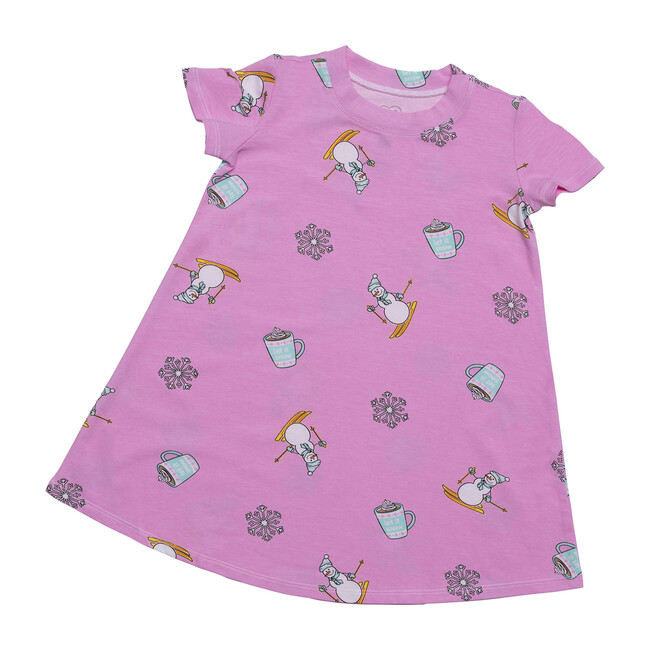 Winter Wonderland Lounge Dress, Pink Winter