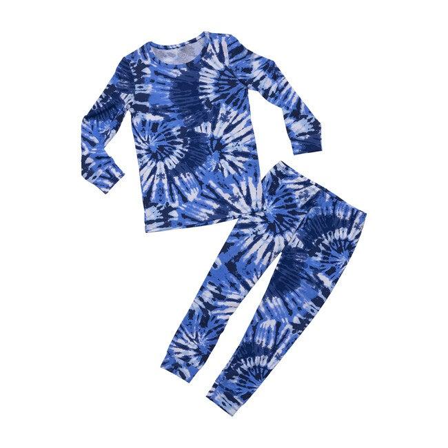 Unisex Blue Tie-Dye Pajamas, Blue
