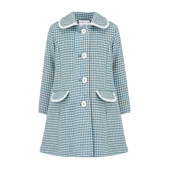 Chelsea Houndstooth Coat, Teal & White