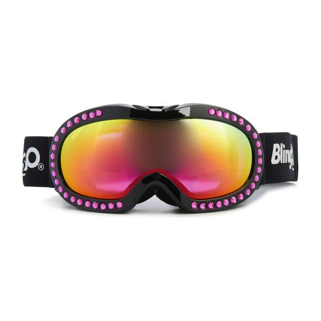 Hot Pink Rhinestone Black Frame Ski Goggle