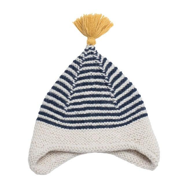 Tassled Ear Hat, Navy Stripe
