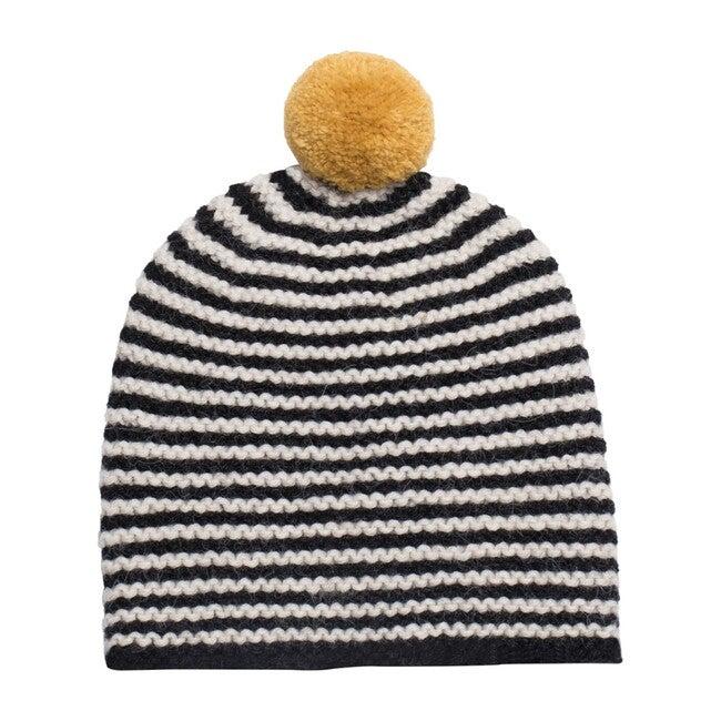 Striped Pom Hat, Black with Mustard Pom