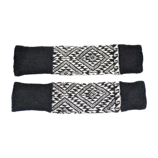 Patterned Leg Warmers, Black