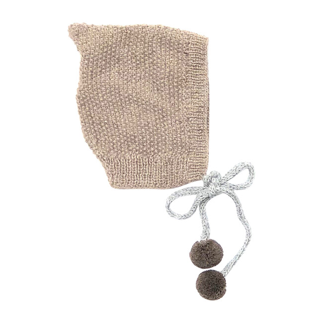 Pom Pom Tie Bonnet, Oat with Chocolate Pom