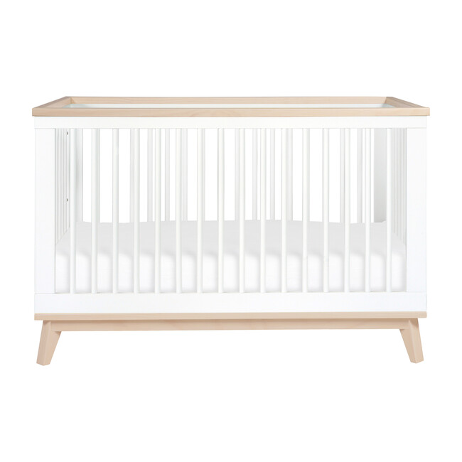 Scoot 3-in-1 Convertible Crib With Toddler Bed Conversion Kit, White/Washed Natural