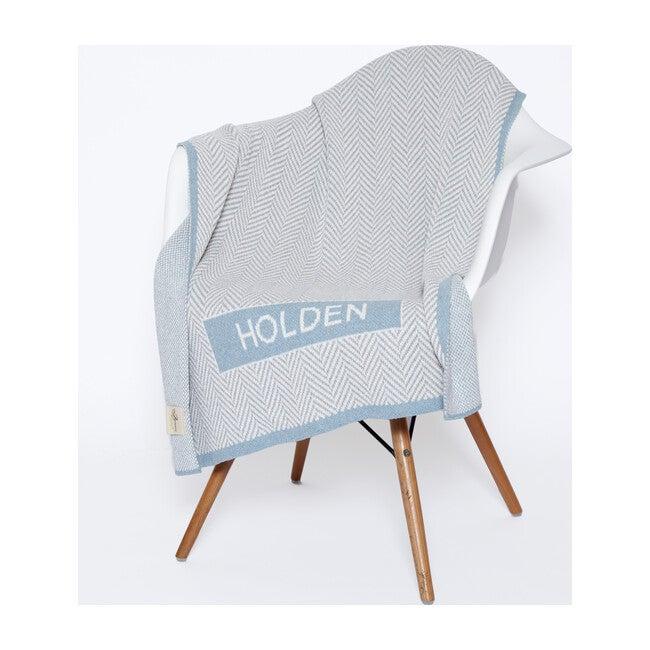 Monogrammed Herringbone Baby Blanket, Pond