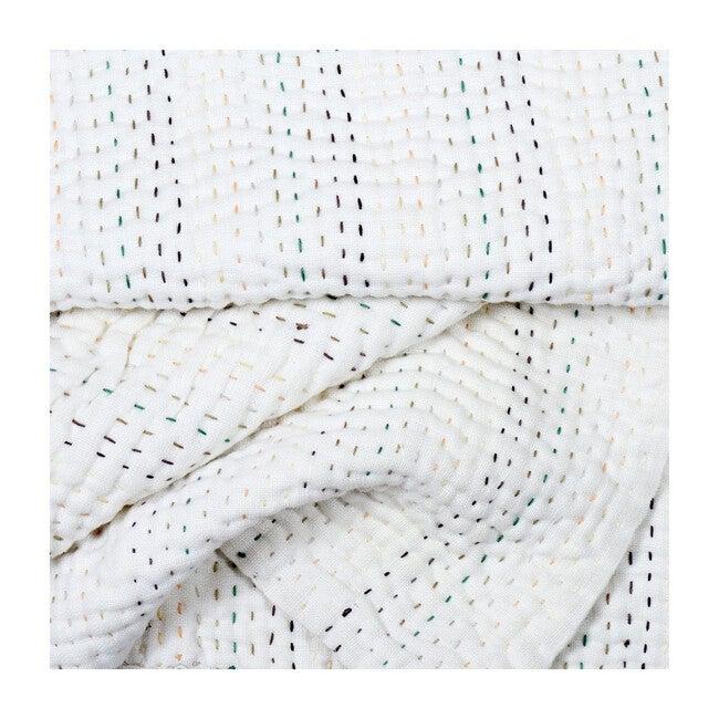 Rainbow Linen Kantha Baby Quilt Blanket