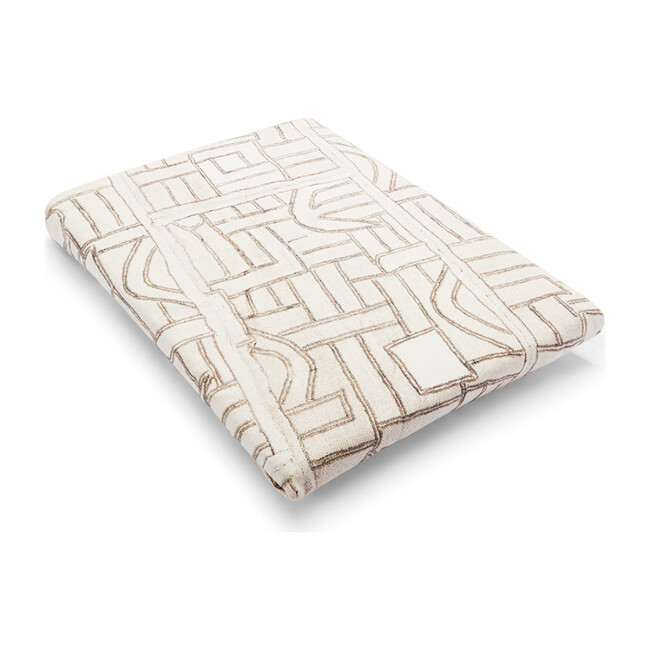 Cotton Percale Crib Sheet, Ecru Maze Kuba Cloth