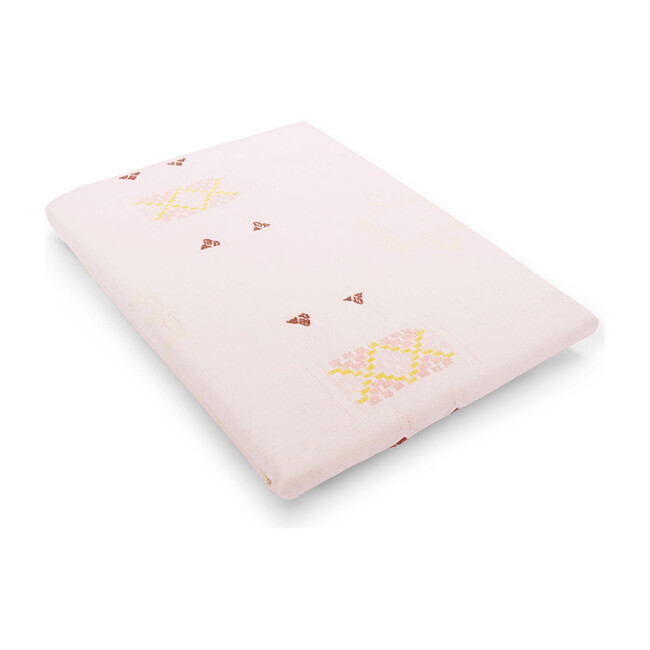 Cotton Percale Crib Sheet, Cactus Silk Blush