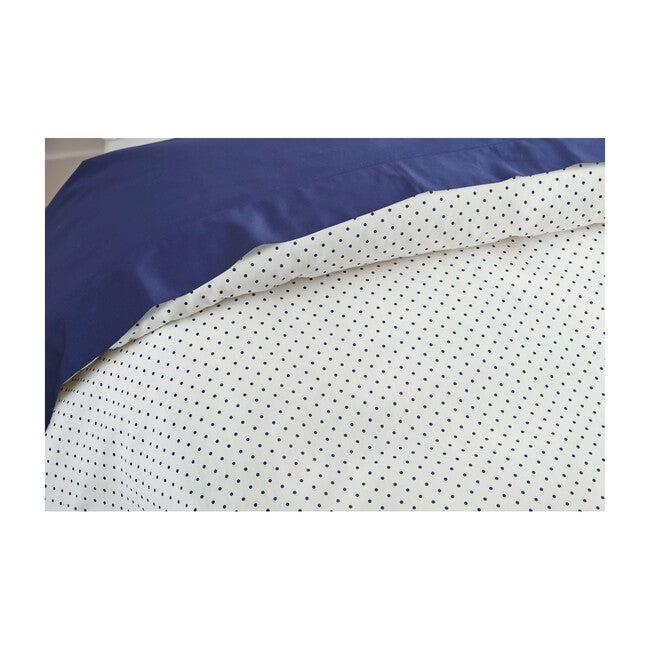 Jr. Sateen Duvet Cover & Sham Set, Classic Navy Pin Dot