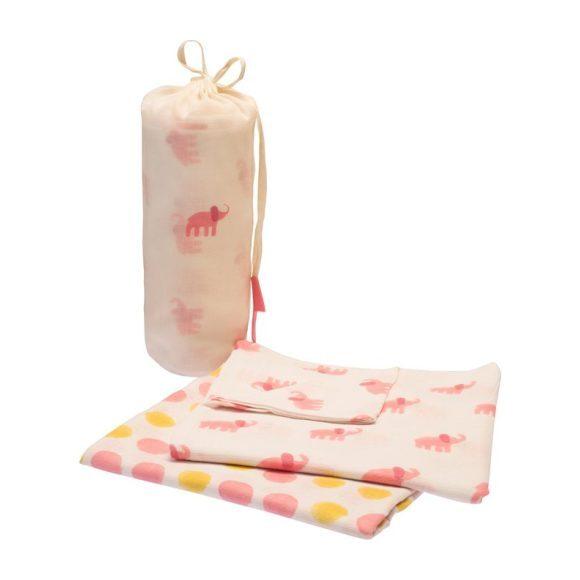 Pink Elephant Swaddle Set
