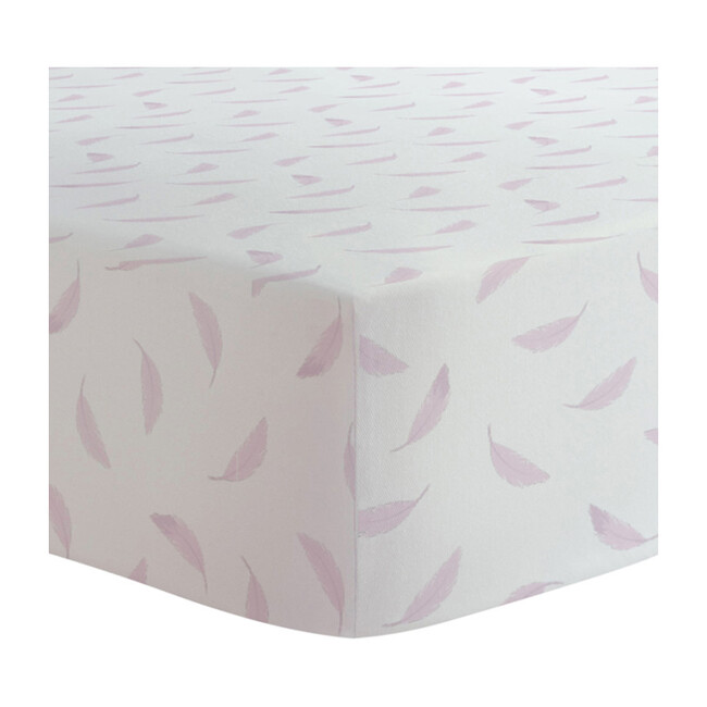 Organic 2 pack Crib Sheet, Pink & White Feathers