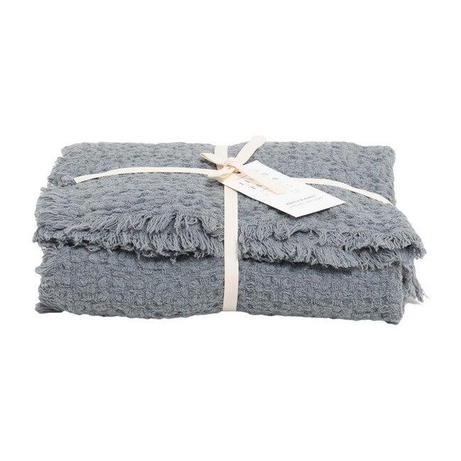 Waffle Linen Blanket, Blue Fog