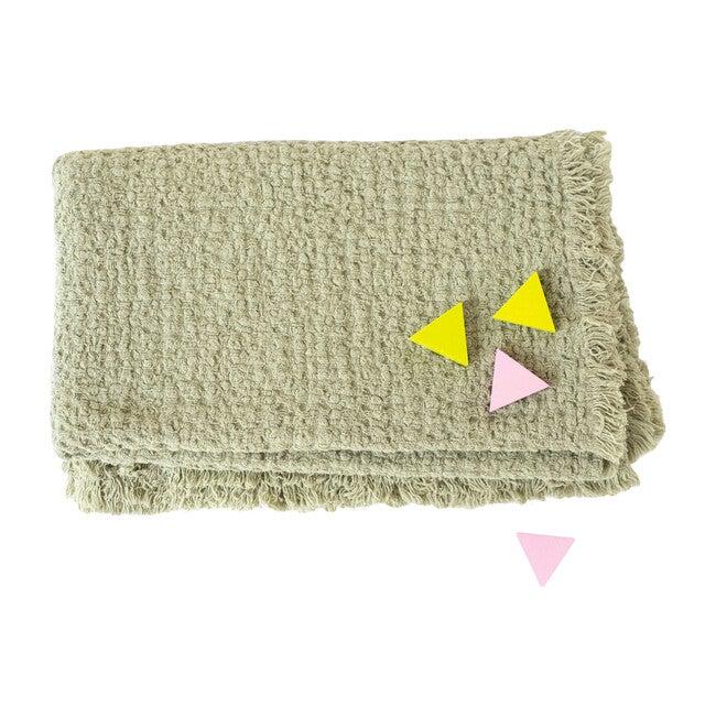 Waffle Linen Blanket, Sage