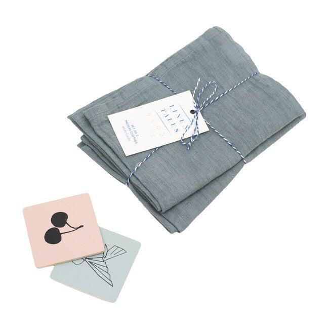 Set of 2 Muslin Cloth, Blue Fog