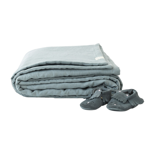 Linen Quilted Blanket, Blue Fog