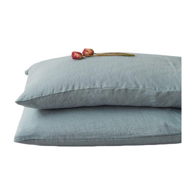 Linen Pillowcase, Blue Fog
