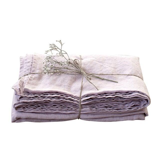 Linen Flat Sheet, Pink Lavender
